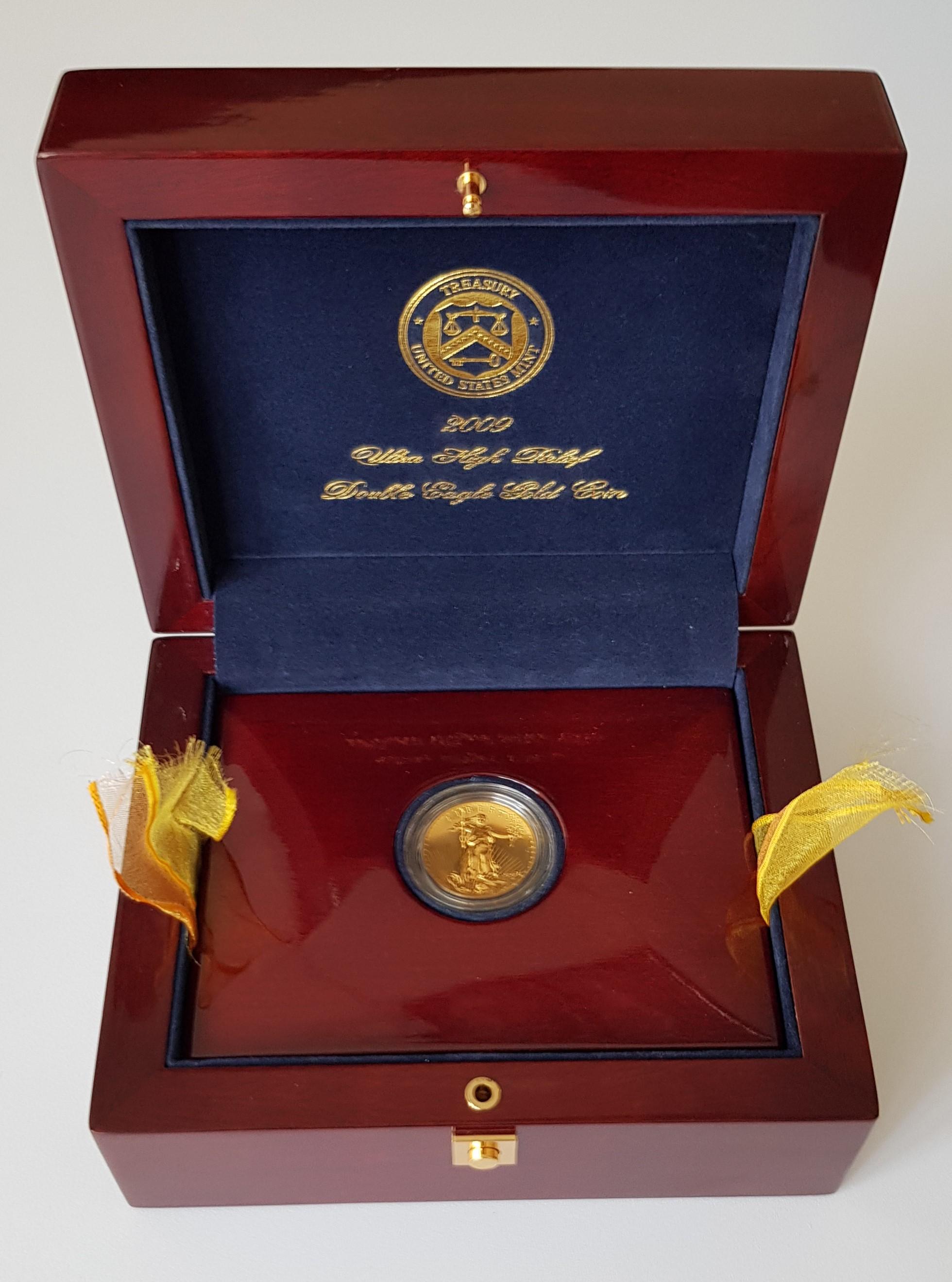 2009 Ultra High Relief Double Eagle 20 Dollar Goldmünze Saint Gaudens mit exklusiver Holzbox und Zertifikat
