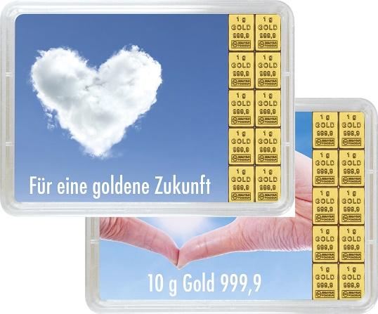 """10 g Goldbarren Geschenkbarren """"Goldene Zukunft"""""""