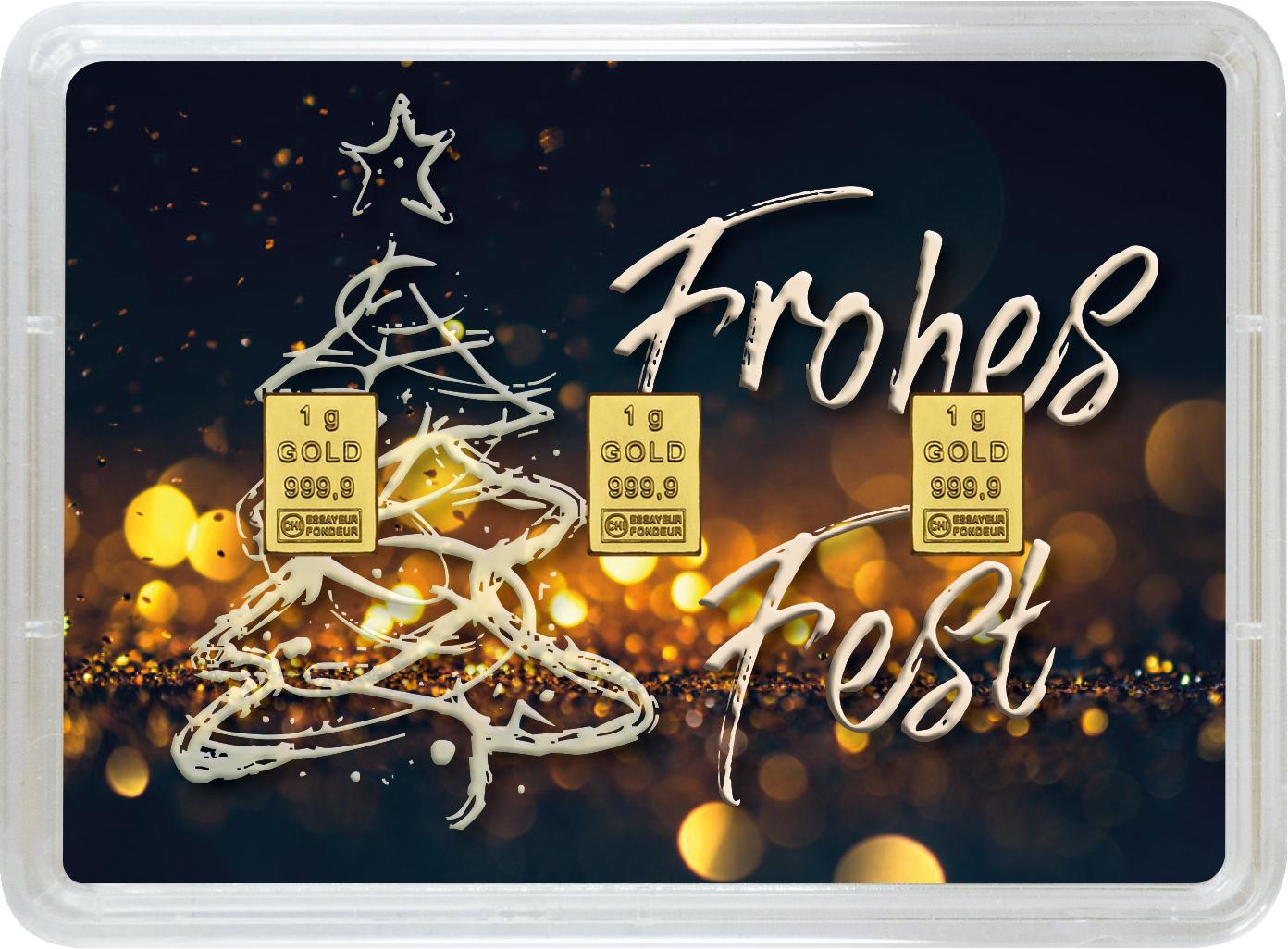"""3 g Goldbarren Geschenkbarren """"Weihnachten"""""""