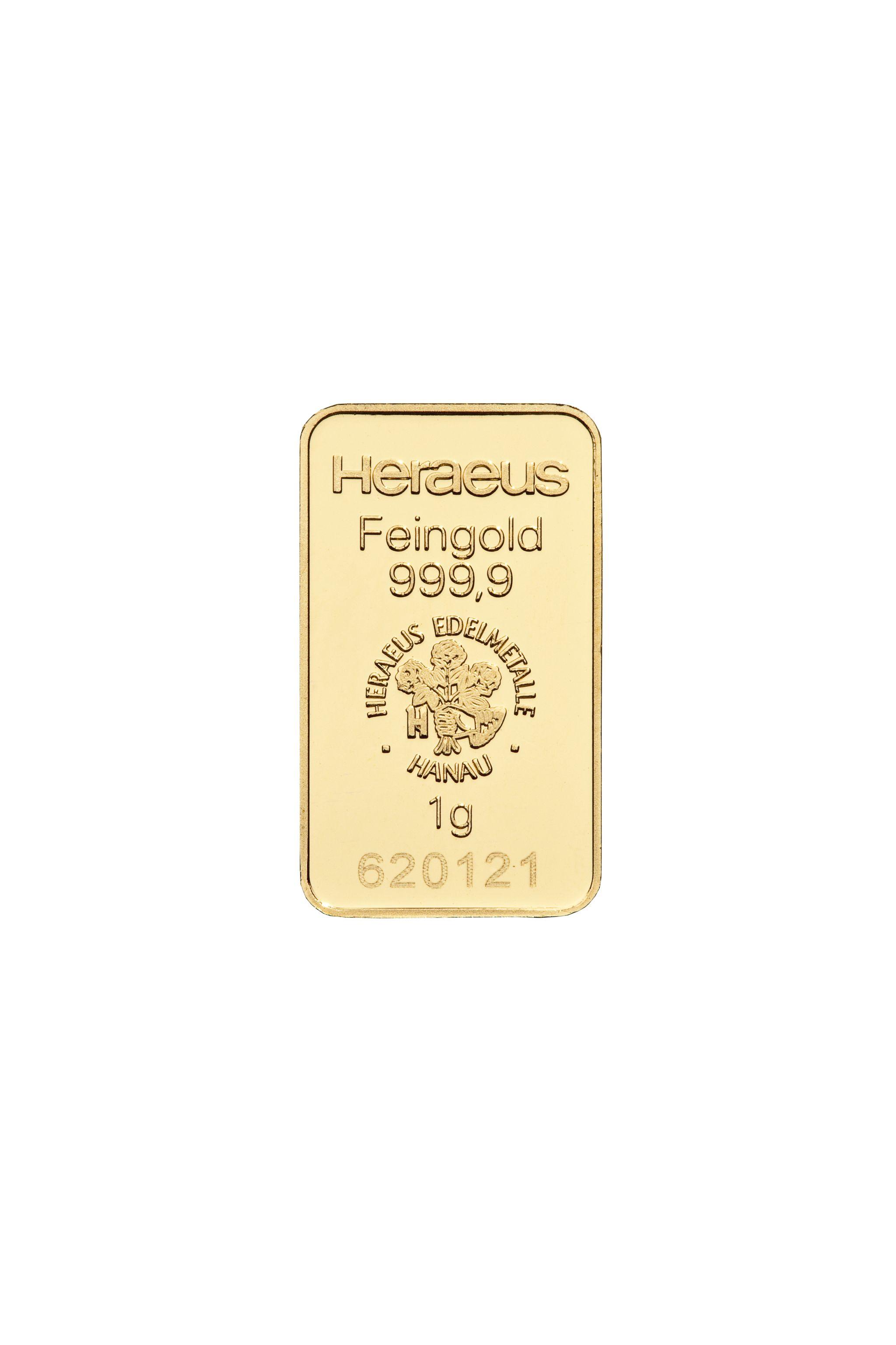 1g Heraeus Goldbarren