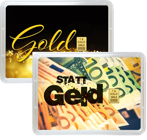 """1 g Goldbarren Geschenkbarren """"Gold statt Geld"""""""