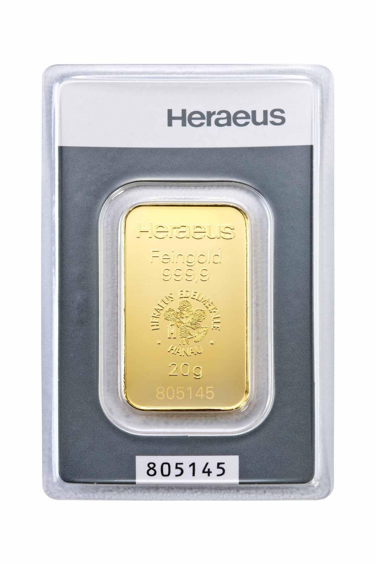 20 g Kinebar Heraeus  Goldbarren Neuware