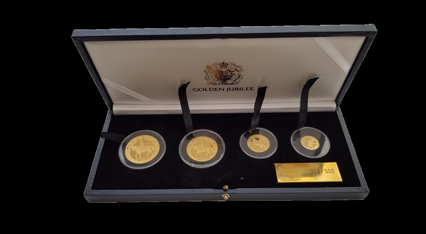 1 Set Goldmünzen Isle of Man Golden Jubilee Proof mit Etui und Zertifikat Jahrgang 2002