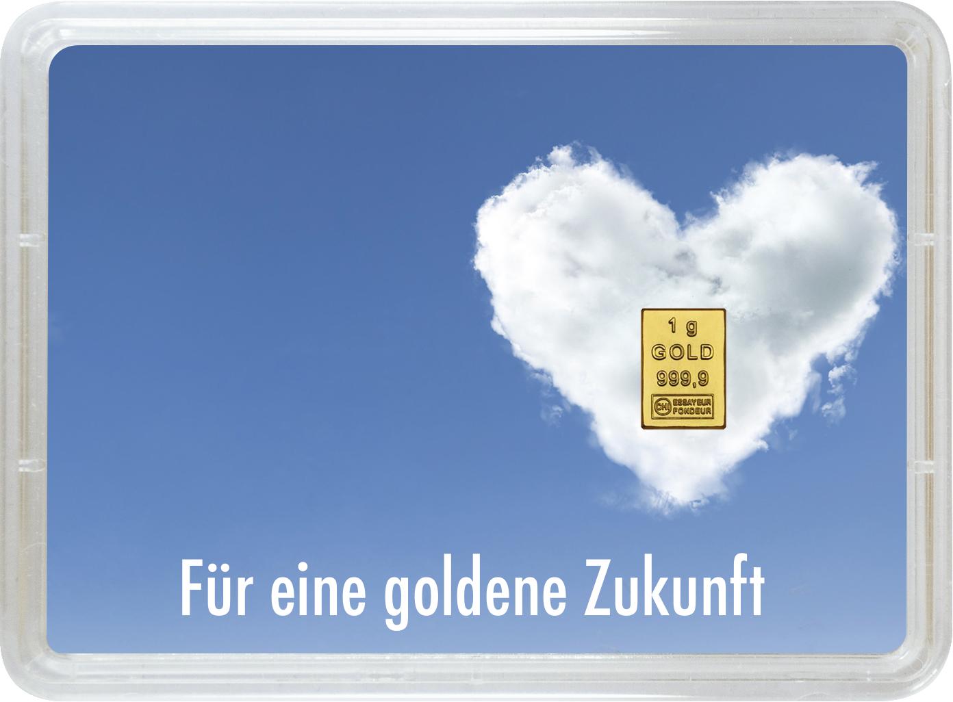 """1 g Goldbarren Geschenkbarren """"Goldene Zukunft"""""""