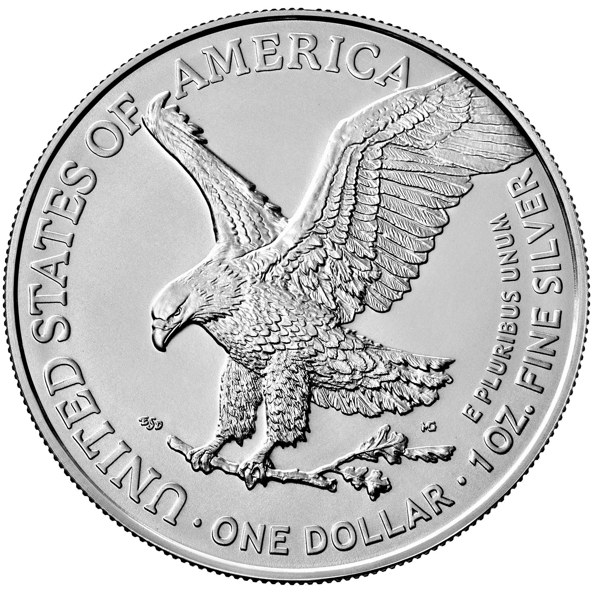 1 Unze (oz) American Eagle Silbermünze Neuware - neues Motiv