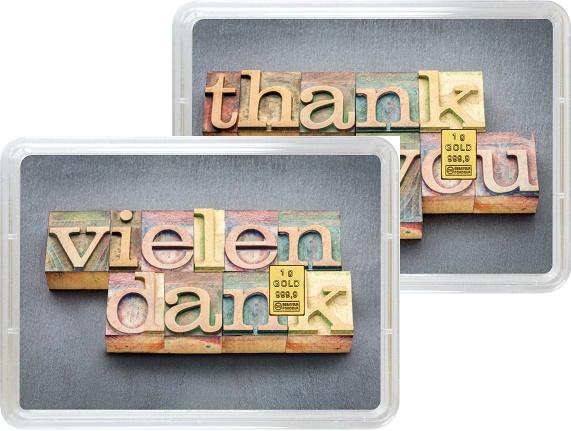 """1 g Goldbarren Geschenkbarren """"Vielen Dank"""""""