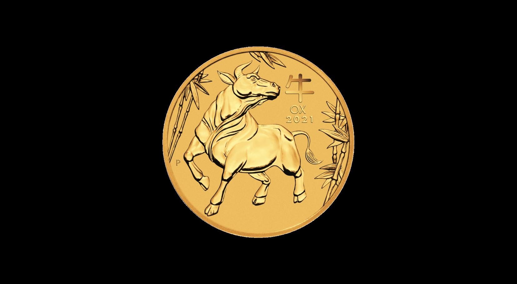 1/20 Unze (oz) Lunar 3 Ochse 2021 Goldmünze