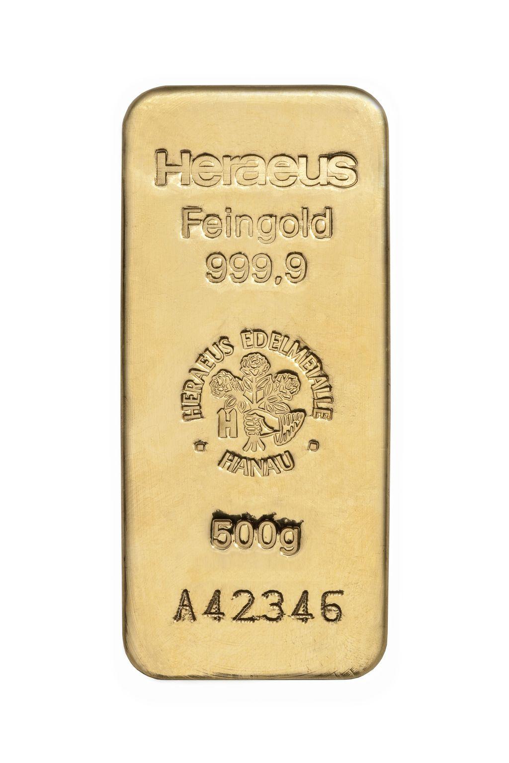 500g Heraeus Goldbarren