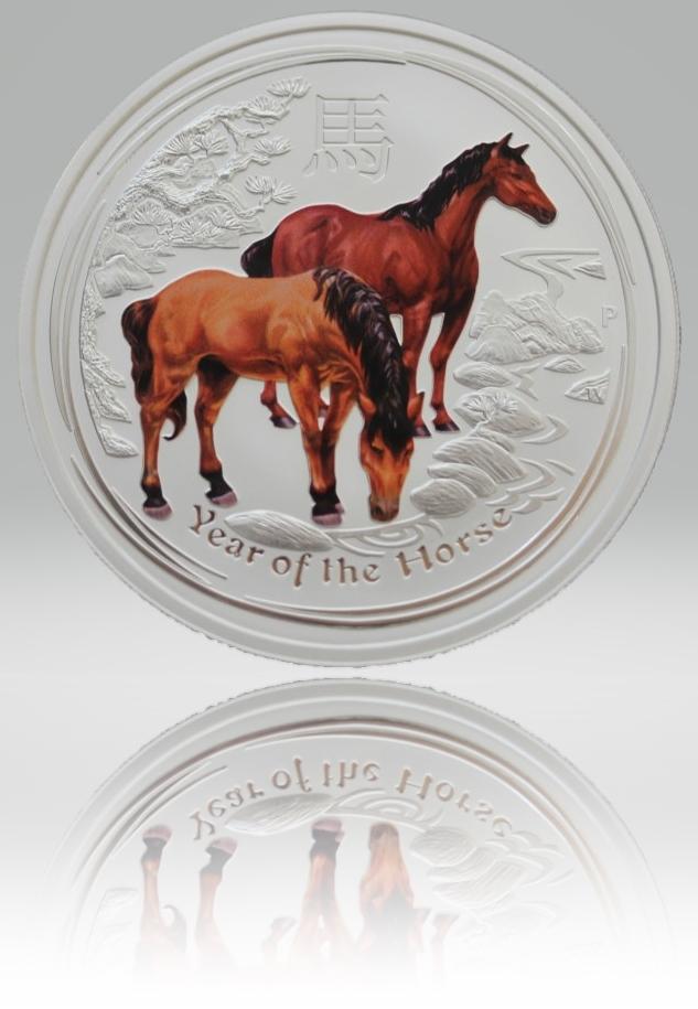 1/2 Unze (oz) Lunar 2 Pferd 2014 Silbermünze coloriert