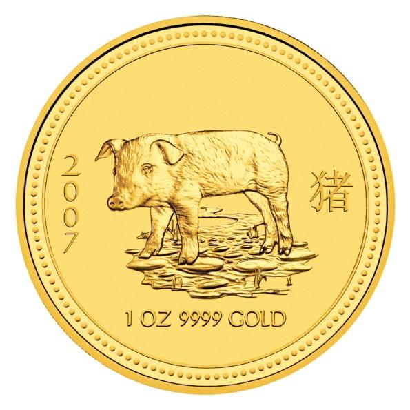 1 Unze (oz) Gold Lunar 1 Schwein 2007 Goldmünze