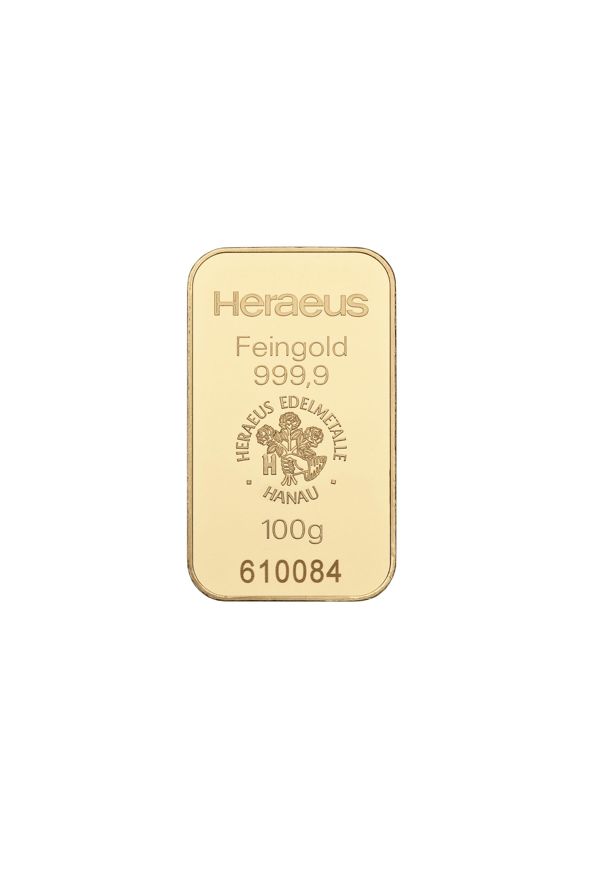 100g Heraeus Goldbarren geprägt