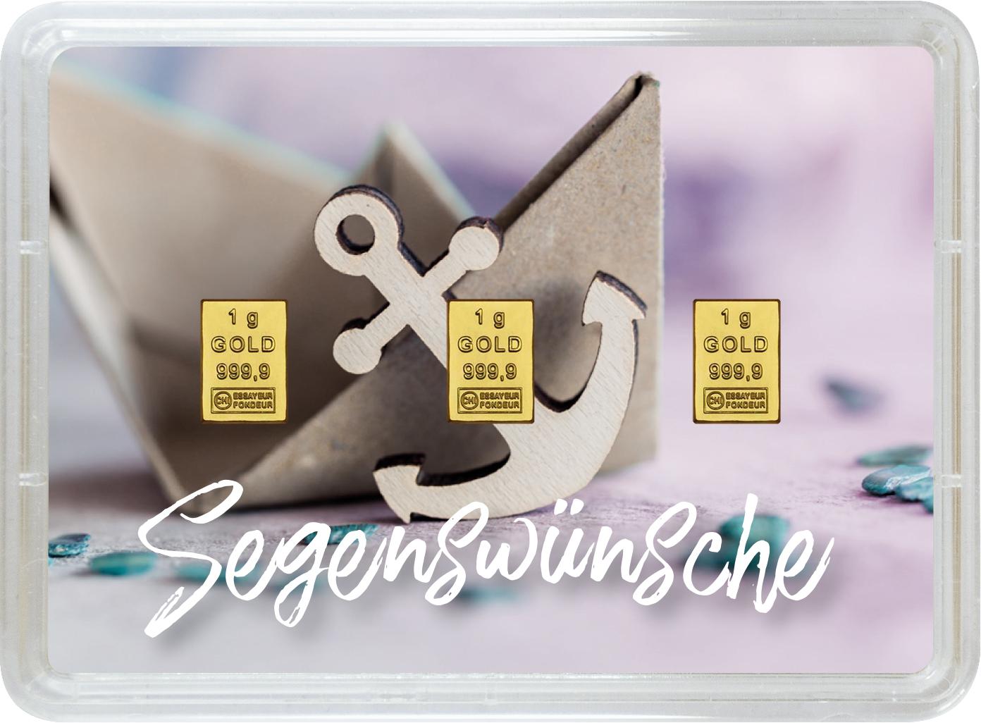 """3 g Goldbarren Geschenkbarren """"Taufe"""""""