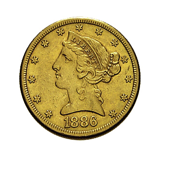 5 US-Dollar Liberty Head Goldmünze Frauenkopf