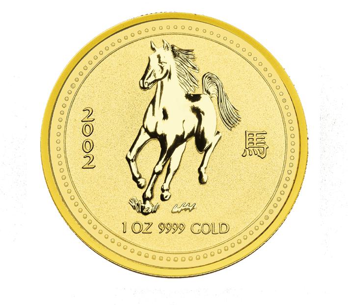 1 Unze (oz) Lunar 1 Pferd 2002 Goldmünze