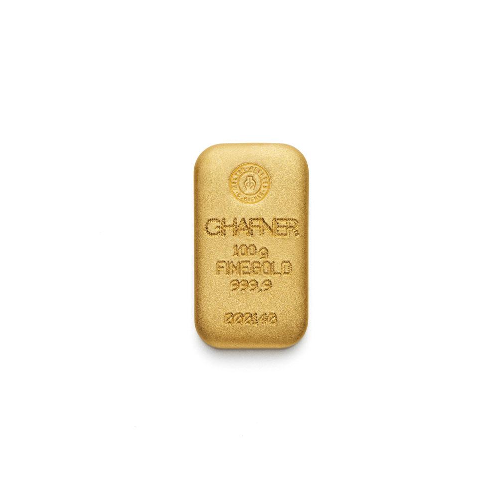 100g Hafner Goldbarren Guss b