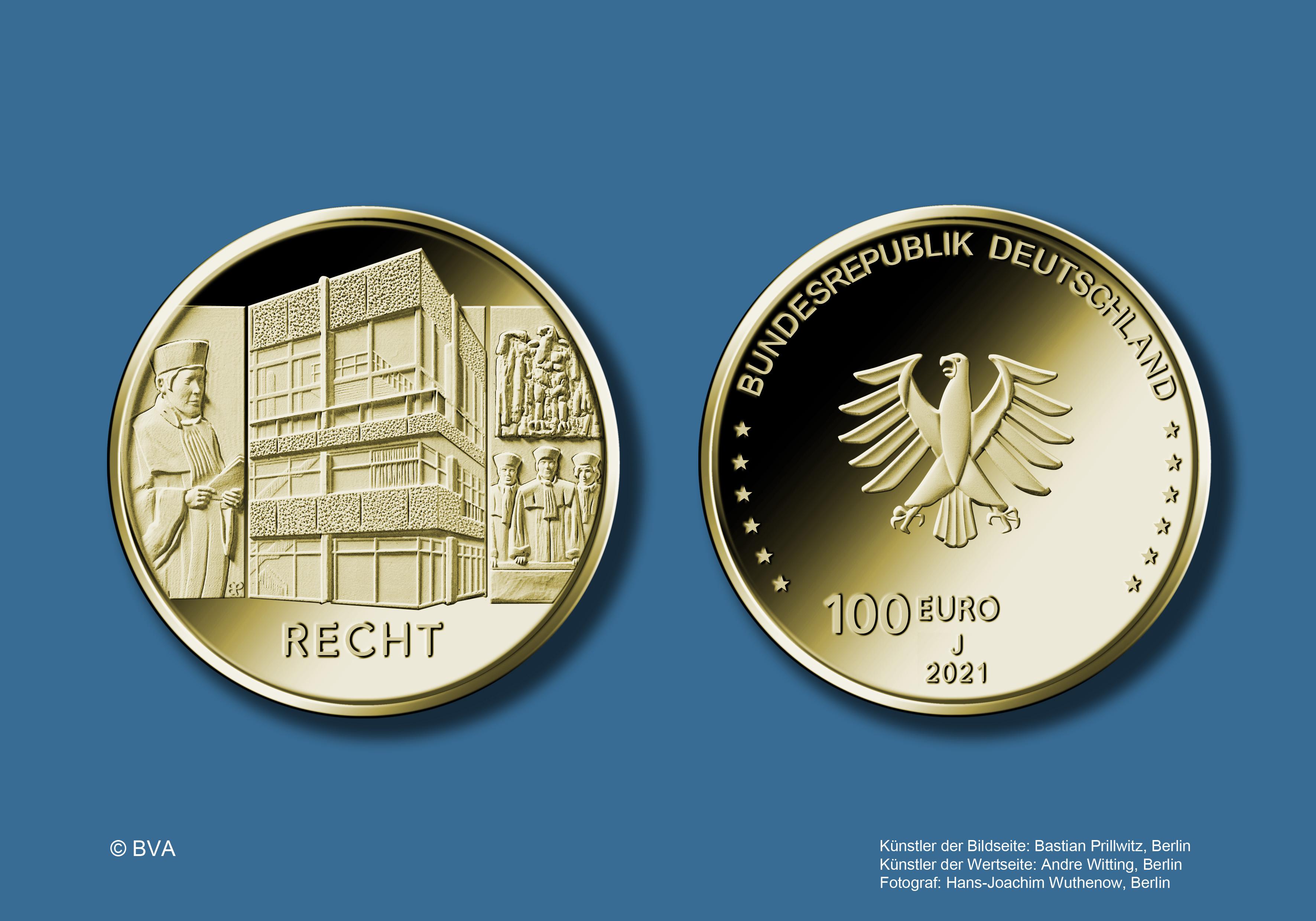 """100-Euro-Goldmünze 2021 """"Säulen der Demokratie - Recht"""""""