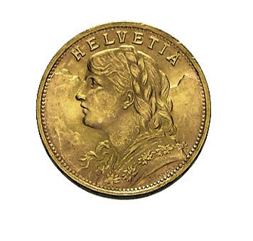 20 Franken Vreneli Goldmünze 1