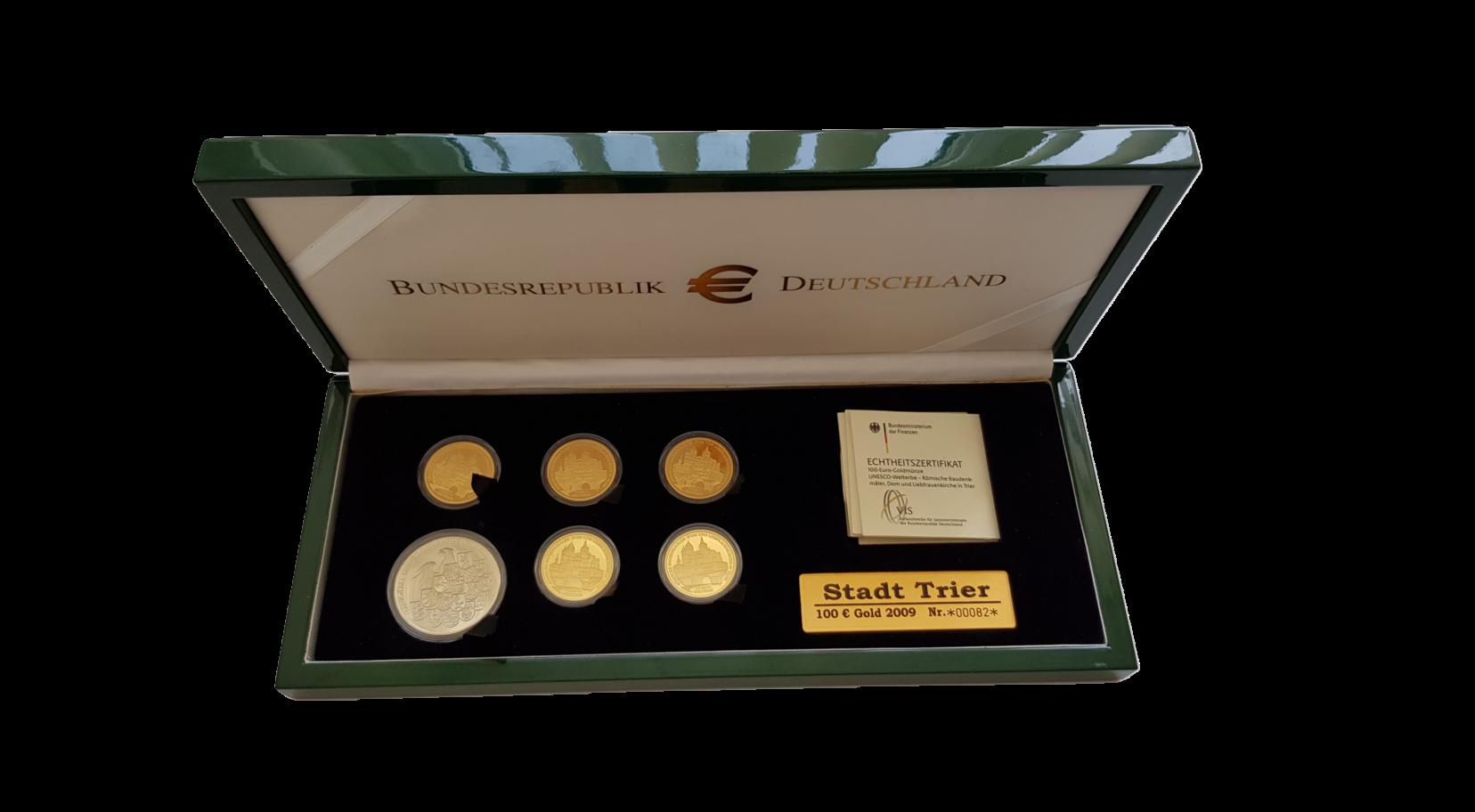 """100-Euro-Goldmünze 2009 """"UNESCO Welterbe – Römische Baudenkmäler - Dom und Liebfrauenkirche in Trier"""" 5 Goldmünzen im Set"""