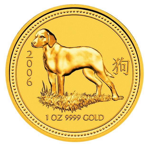 1 Unze (oz) Lunar 1 Hund 2006 Goldmünze