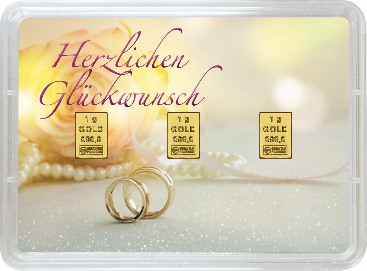 """3 g Goldbarren Geschenkbarren """"Hochzeit"""""""