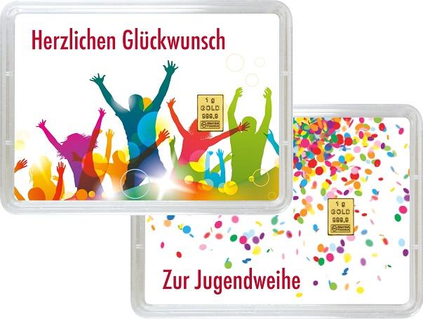 """1 g Goldbarren Geschenkbarren """"Jugendweihe"""""""