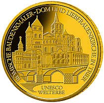 """100-Euro-Goldmünze 2009 """"UNESCO Welterbe – Römische Baudenkmäler - Dom und Liebfrauenkirche in Trier"""""""