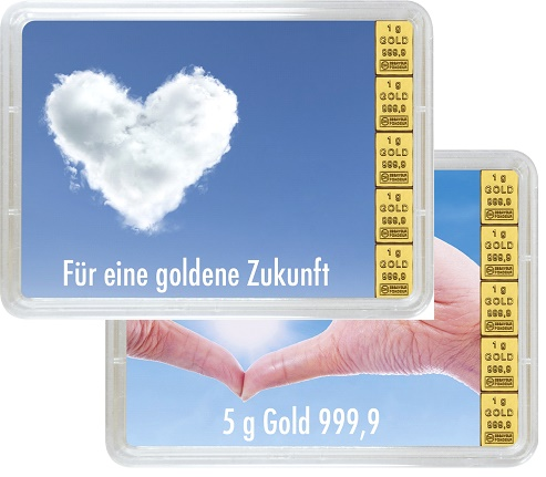 """5 g Goldbarren Geschenkbarren """"Goldene Zukunft"""""""