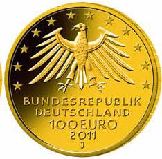 "100-Euro-Goldmünze 2011 ""UNESCO Welterbe – Wartburg"""