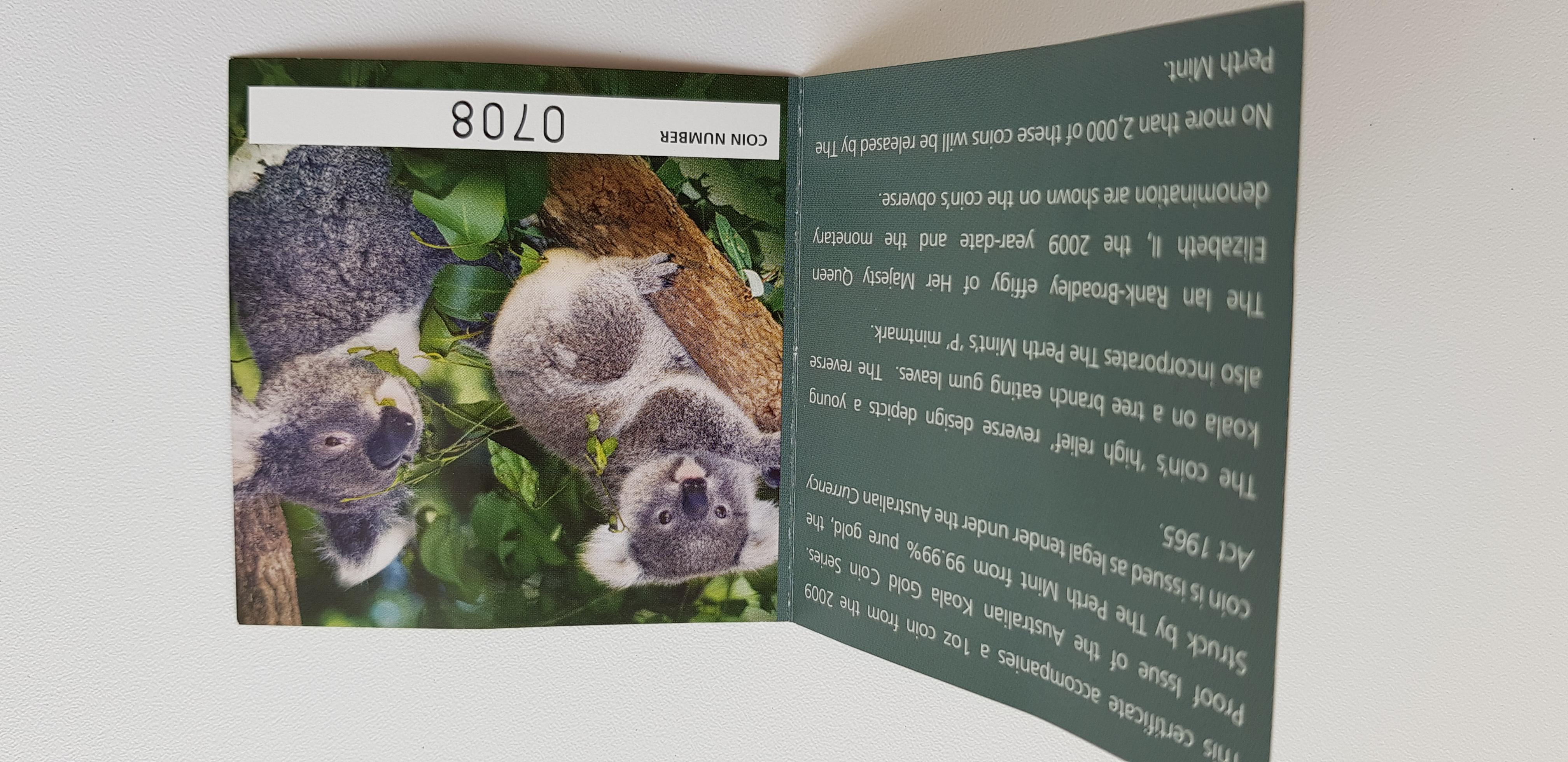 1 Unze (oz) Koala Goldmünze Proof High Relief Jahrgang 2009