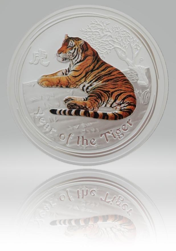 1/2 Unze (oz) Lunar 2 Tiger 2010 Silbermünze coloriert