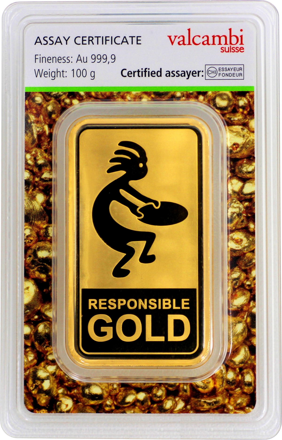 100 g Valcambi Responsible Goldbarren