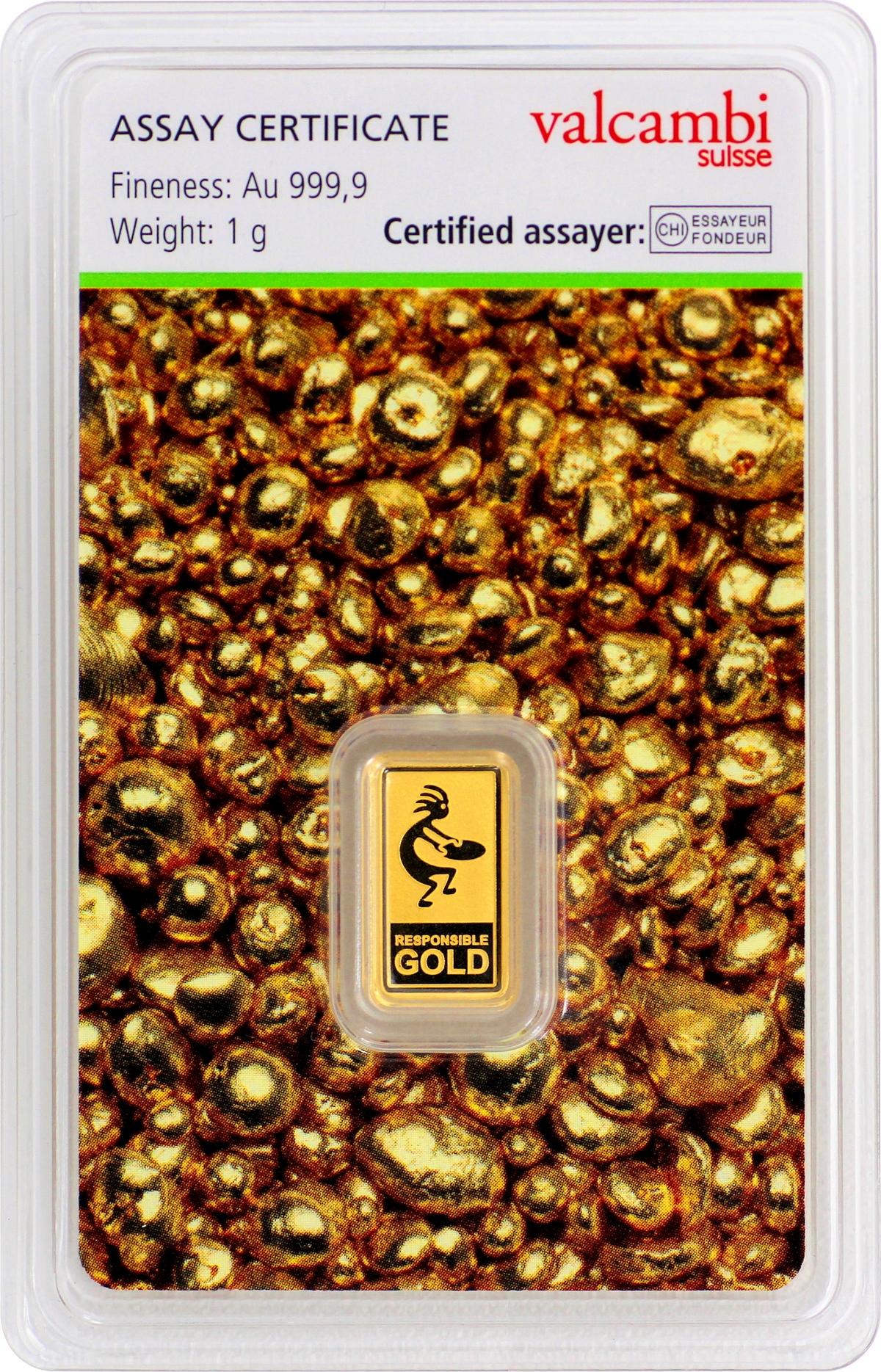 1 g Valcambi Responsible Goldbarren