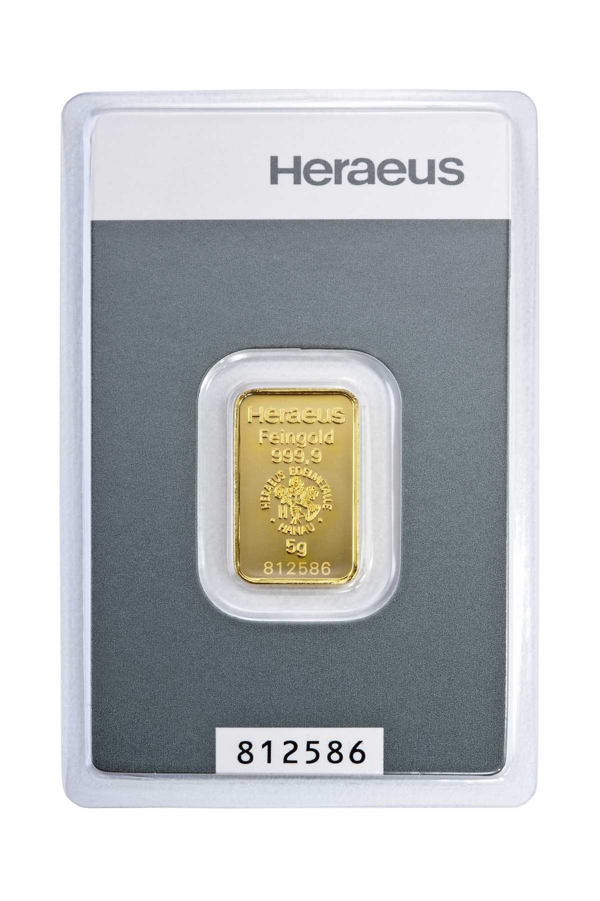 5 g Kinebar Heraeus  Goldbarren