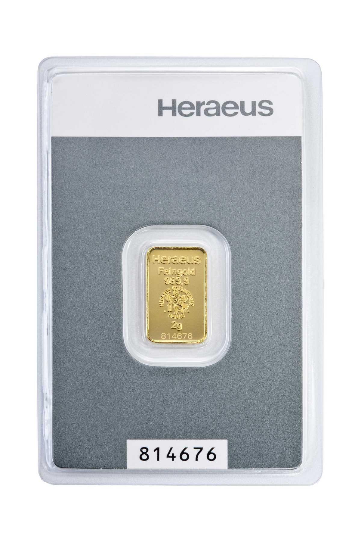 2 g Kinebar Heraeus  Goldbarren Neuware