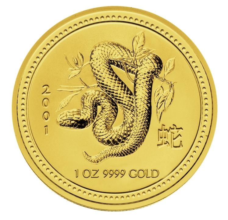 1 Unze (oz) Lunar 1 Schlange 2001 Goldmünze
