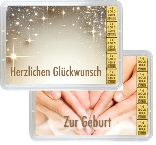 """5 g Goldbarren Geschenkbarren """"Geburt"""""""