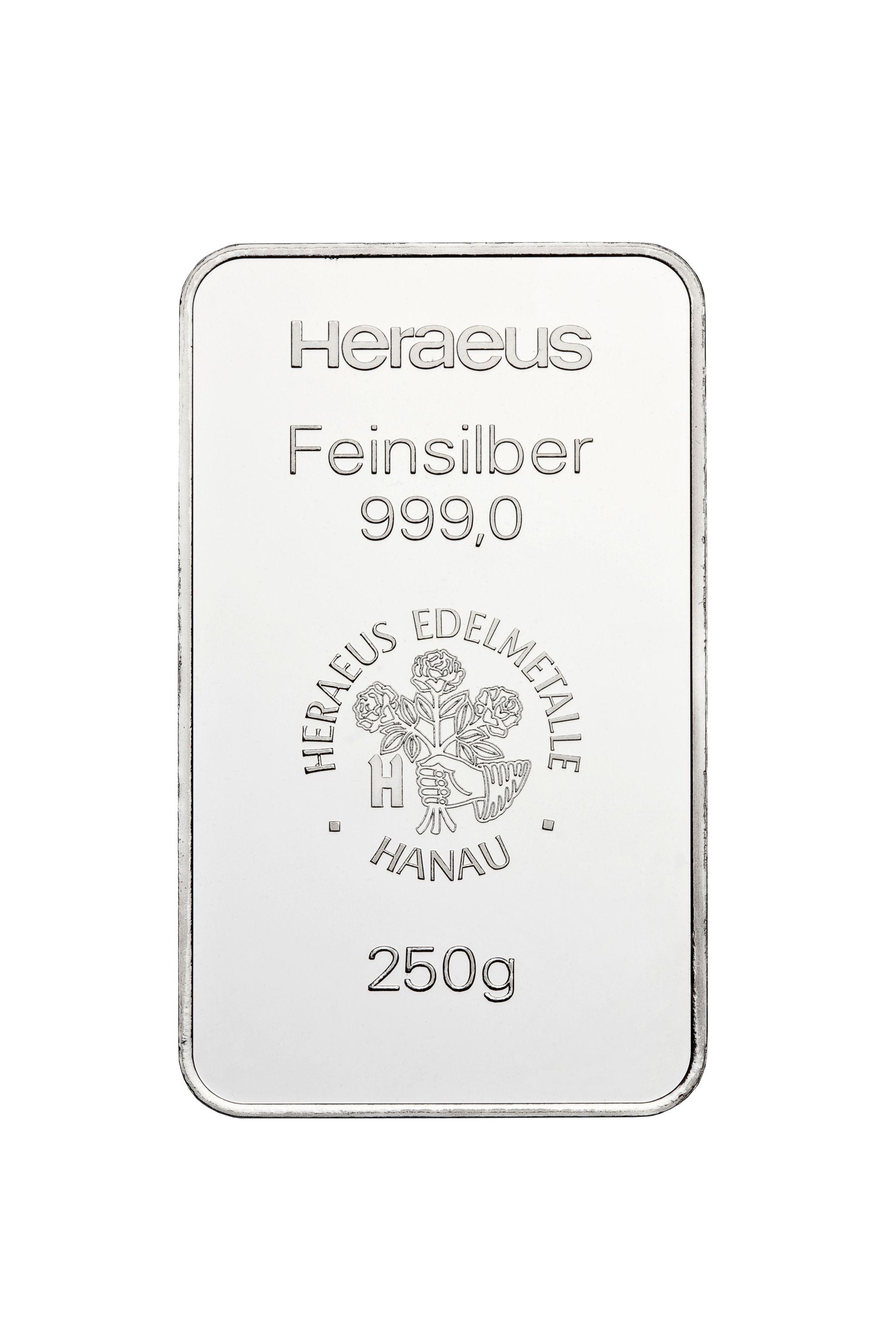 250g Heraeus Silberbarren
