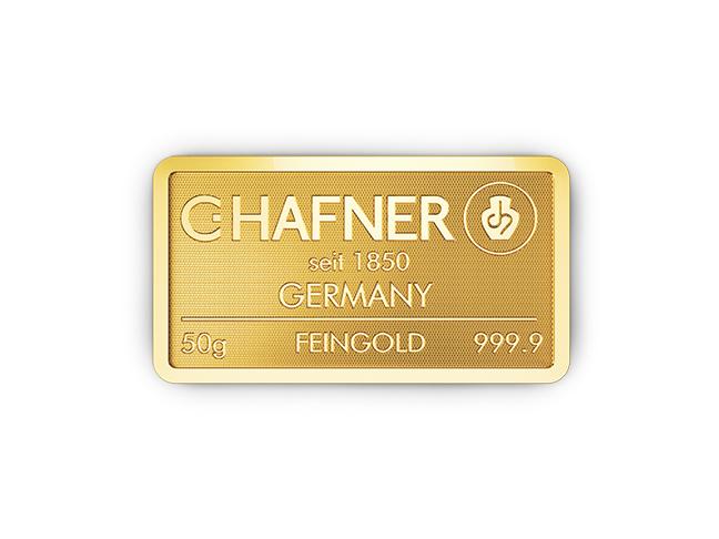 50g Hafner Goldbarren c