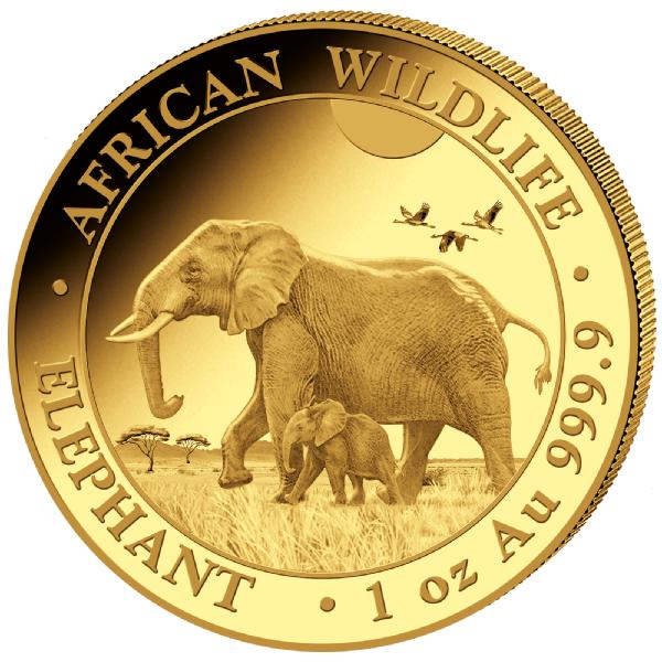 1 Unze (oz) Somalia Elephant 2022 Goldmünze