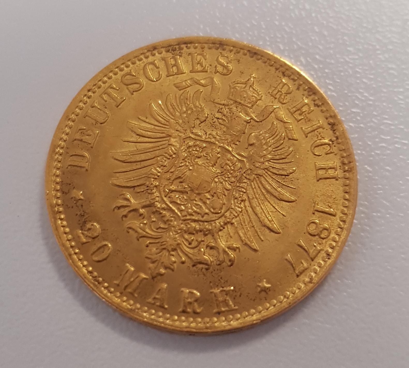 20 Mark Stadtwappen Hamburg Prägejahr 1877 Prägestätte J