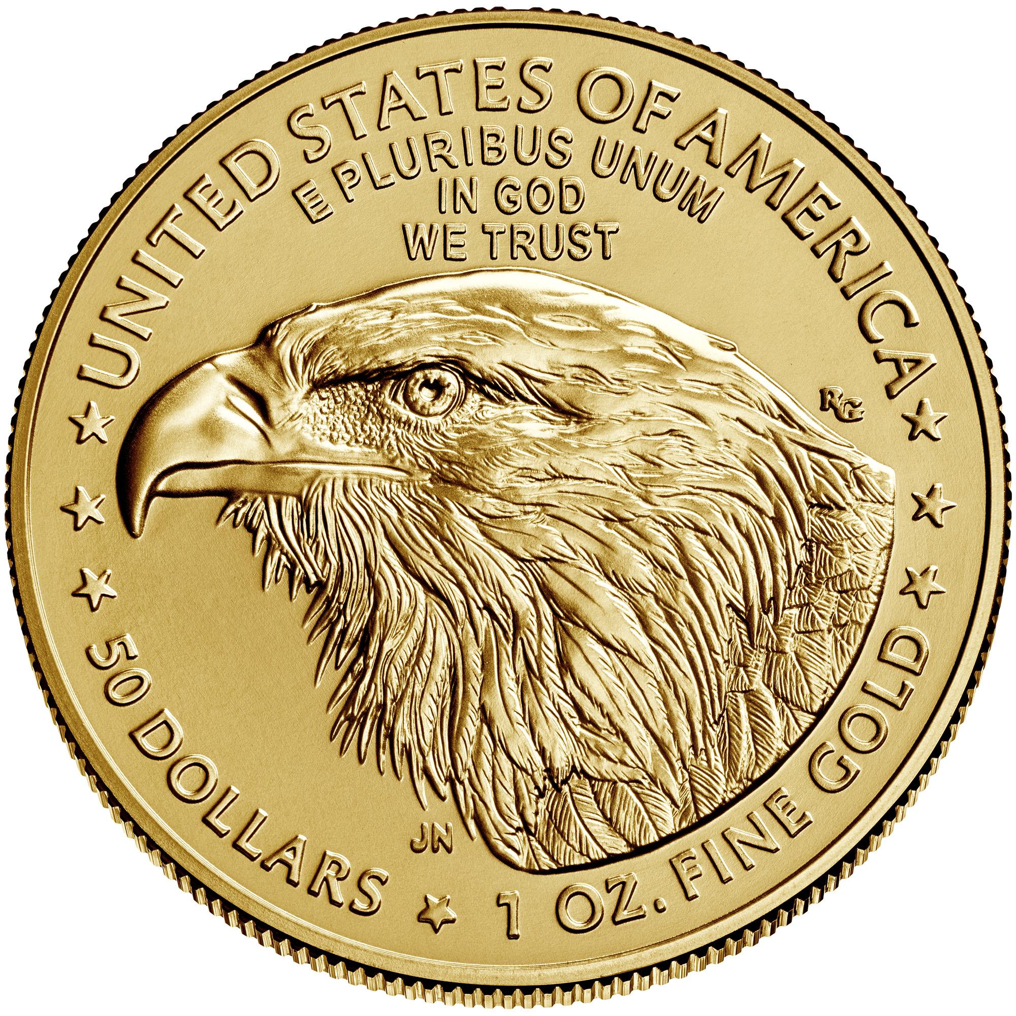 1 Unze (oz) Gold American Eagle Neuware -  das neue Motiv