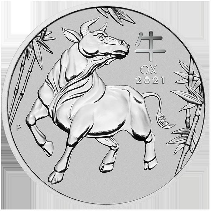 1 Unze (oz) Lunar 3 Ochse Platinmünzen