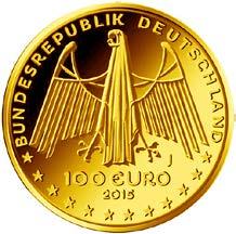 """100-Euro-Goldmünze 2015 """"UNESCO Welterbe –Oberes Mittelrheintal"""""""