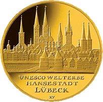 """100-Euro-Goldmünze 2007 """"UNESCO Welterbe – Hansestadt Lübeck"""""""