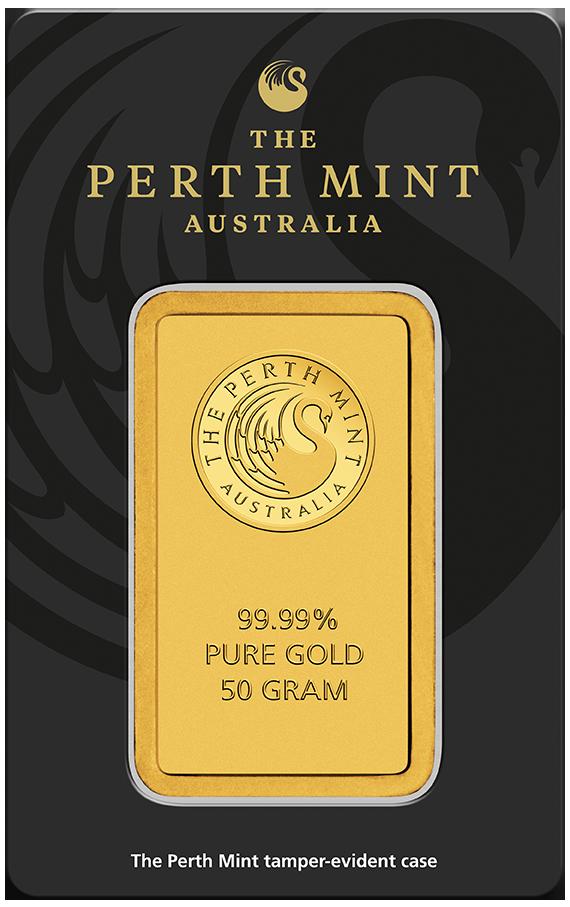 50 g Perth Mint Goldbarren