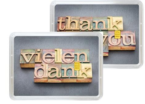 """0,5 g Goldbarren Geschenkbarren """"Vielen Dank"""""""