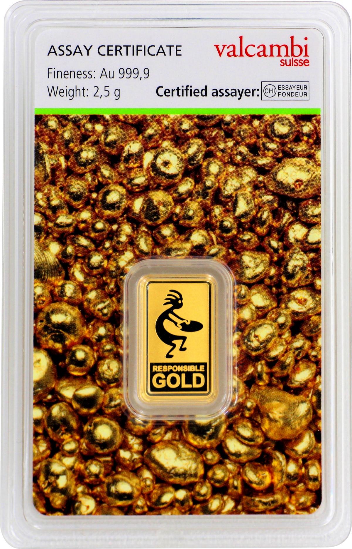 2,5 g Valcambi Responsible Goldbarren