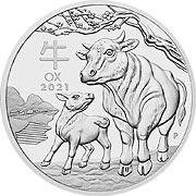 1 Unze (oz) Lunar III Ochse Silbermünze