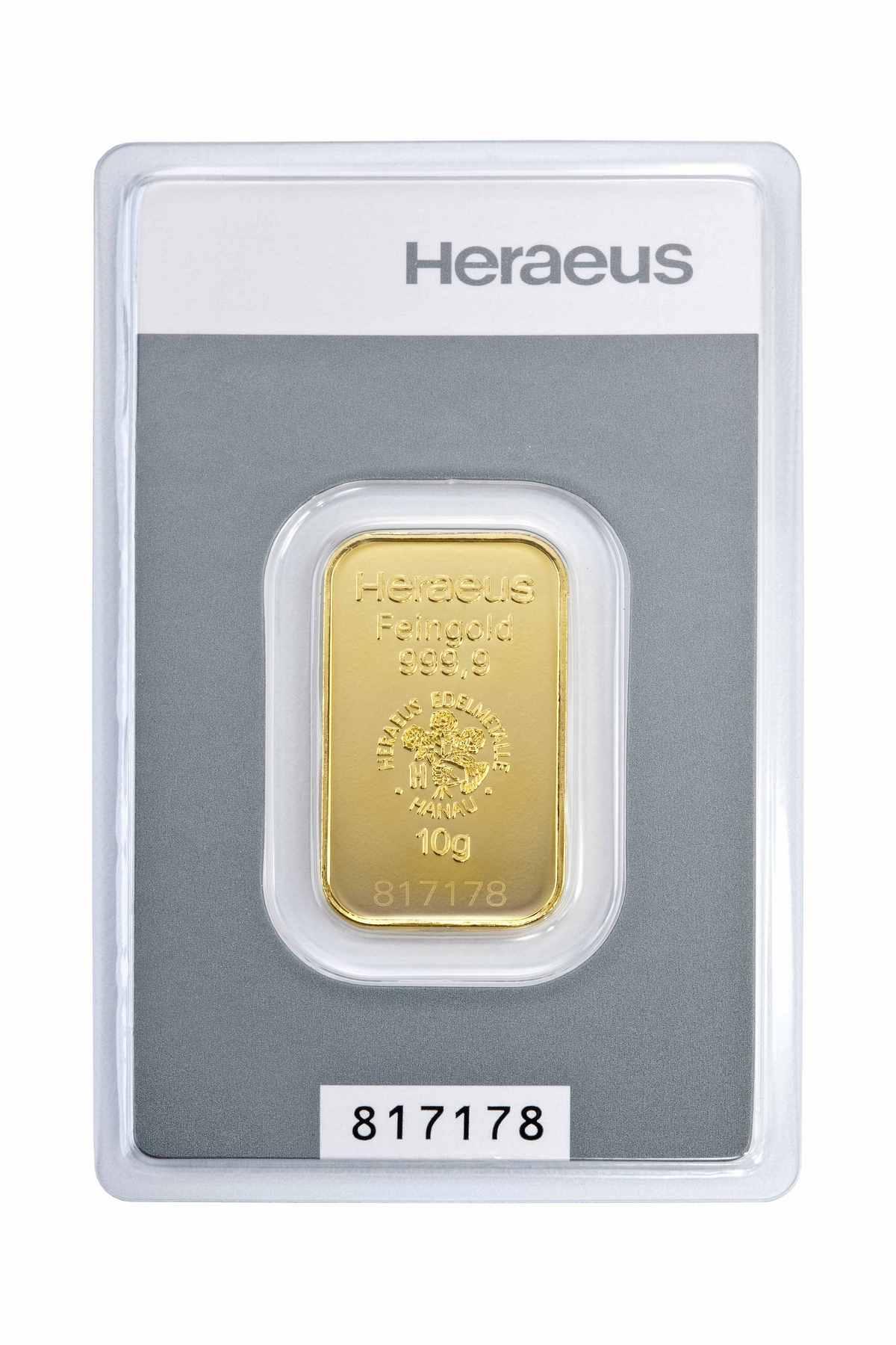 10 g Kinebar Heraeus  Goldbarren Neuware