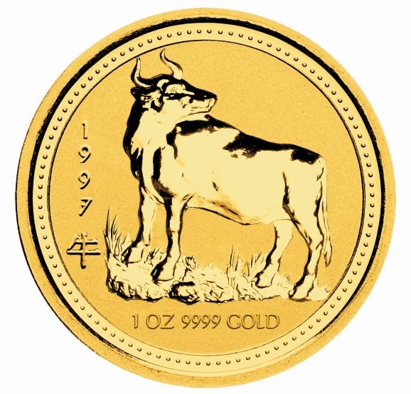 1 Unze (oz) Lunar 1 Ochse 1997 Goldmünze